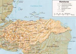 Honduras relief map