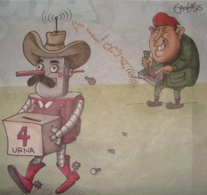 Political cartoon taken from the newspaper Diario La Prensa of 7/2/09. It depicts Venezuelen president Hugo Chavez controlling a robotic Mel Zelaya in his campaign to pass an illegal referendum.
