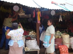 Maria Benitez is one of many Adelante clients who sell fresh fruits and vegetables at the large, bustling market in the city of Marcala.
