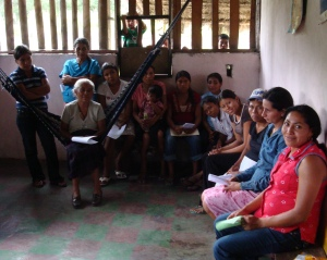 Women attending an Adelante assembly meeting, high in the mountain village of Marcala.