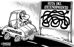 "Sign reads: ""The Road to Understanding"", highlighting the complexity and frustration of the politicial battle in Honduras. (Cartoon taken from online newspaper LaPrensa.Hn)"